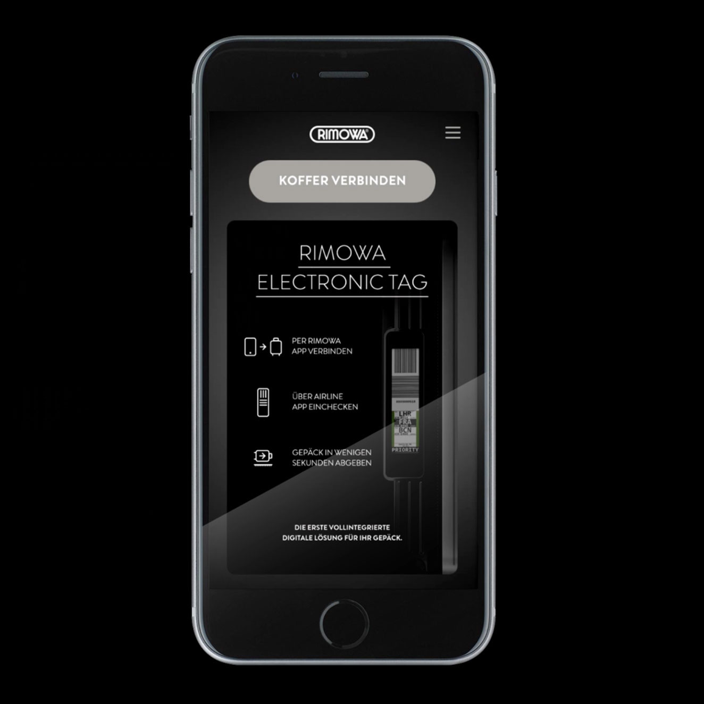 RIMOWA Electronic Tag App auf Smartphone.