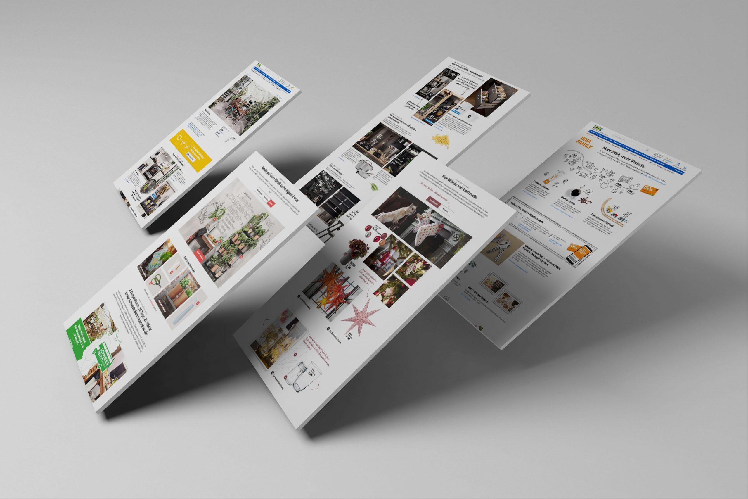 Verschiedene Seiten auf der IKEA.de schweben aufrecht in einem leeren Raum.