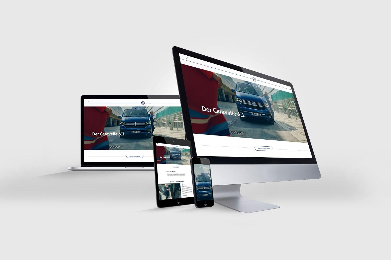 Die Caravelle 6.1 Seite auf der vwn.de im Screen eines Laptops, Tablets und Smartphones.